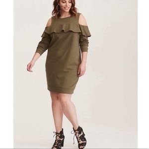 Torrid Sweatshirt Dress Olive Green 1X